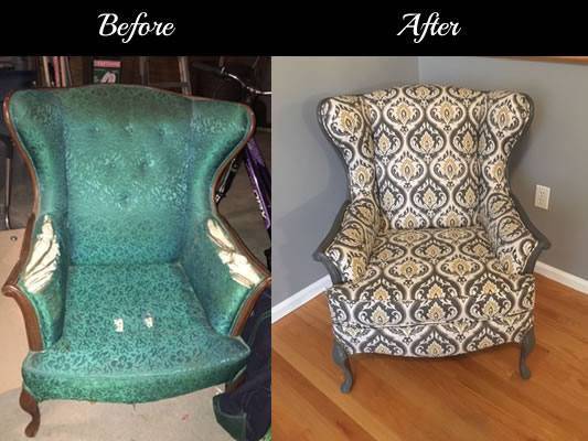 Traditional chair before and after being repaired by Locatelli-Smith Interiors professional reuphostery services.