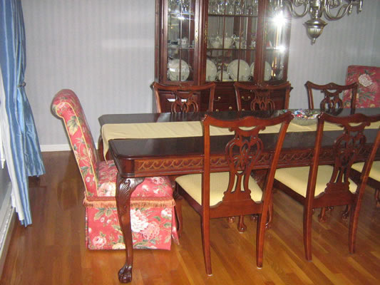 Upholstered parsons chairs, dining room chairs, drapes