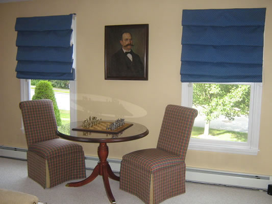 Upholstered Parsons Chairs, Flat Roman Shades